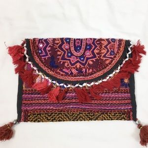 Boho embroidered crossbody bag with tassels. NWOT